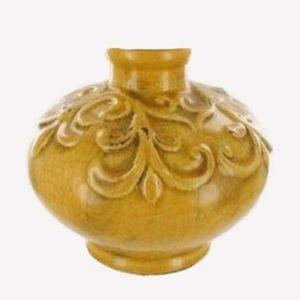 NWT Hobby Lobby Decor Yellow Ceramic Rotund Vase